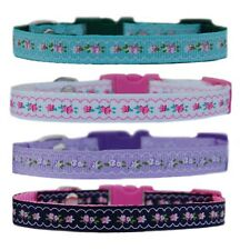 """green pink /white navy lilac """"FLOWERS """" chihuahua dog puppy collar & or lead"""