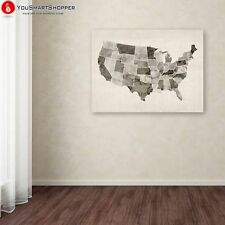 "Trademark Fine Art ""United States Watercolor Map"" Canvas by Michael Tompsett"