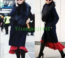 Ladies Real Genuine Big Fox Fur Cashmere Wool Coat Jacket Long Outerwear Chic#7T