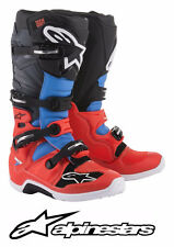 ALPINESTARS TECH 7 MOTOCROSS ATV MX BOOTS ASTARS RED FLUO CYAN GRAY BLACK