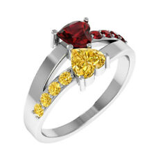 Orchid Jewelry Sterling Silver Citrine and Garnet Heart Shaped Glitzy Ring