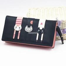Women Cute Cat Bifold Purse Long Wallet Multi-pocket Coin Credit Cards FT