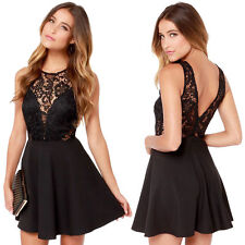 Fashion Women's Sexy Lace Floral Casual Short Party Evening Cocktail Mini Dress