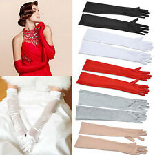 Womens Gloves Elbow Length Full Evening Casual Party Fashion Satin Guantes New