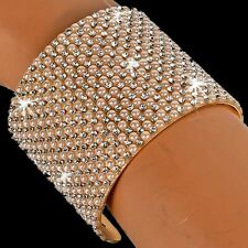 GOLD OR SILVER Pave Set PEARL Crystal Cz Bangle Cuff Statement Bracelet BLING