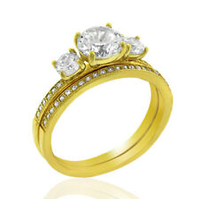 .925 Sterling Silver Gold Plated Cubic Zirconia Three-Stone Round Cut Two Piece
