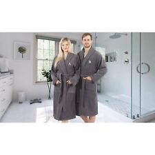 Authentic Hotel and Spa Unisex Grey Turkish Cotton Terry Bath Robe with White