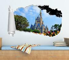 Disney Castle 3D Torn Hole Ripped Wall Sticker Decal Decor Art Mural Kids WT276