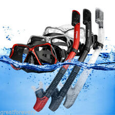 Snorkel Set with Tempered Glass Diving Mask Dry Snorkel for Wide View Scuba New