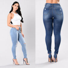 Denim Pants Ripped Knee Skinny Fit Stretch High Waisted Womens Jeans
