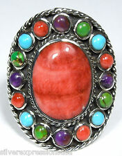 Multicolor Turquoise & Spiny Oyster Inlay 925 Sterling Silver Ring Sz 5-10