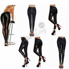 Women High Waisted PVC Leather Wet Look Leggings Pants Stretch Trousers Ladies