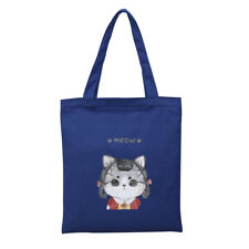 Women's Lovely Cartoon Meow Cat Girl Thick Canvas Tote Shopping Bag