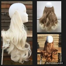 """18"""" THICK FULL HEAD HALO SECRET WIRE HAIR EXTENSIONS IN LUXURY SYNTHETIC FLIP"""