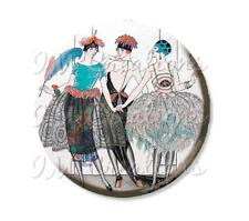 "Handmade 2.25"" Pocket Mirror, Magnet, Pin Vintage 1920's Art Deco Trio Flappers"