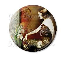 "Handmade 2.25"" Pocket Mirror, Magnet or Pinback Button Vintage 1920's Sexy MR109"