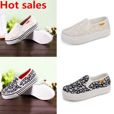 Women's Girls Skull Canvas Breathable Slip On Plimsolls Mesh Casual Shoes Size