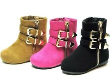 New Baby Toddler Girls Strappy Buckle Flat Heel Ankle High Suede Boots SZ 4-8