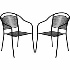 Tiffany Black Curved Back Stackable Patio Arm Chairs