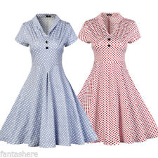 Womens Vintage Print 50S Rockabilly Swing Party Evening Polka Long Skater Dress