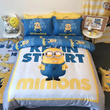 Minions Doona Quilt Duvet Cover Set Flat/Fitted Sheet Set Single Queen/King Size
