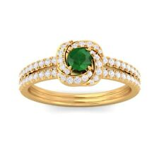 Green Emerald Gemstone Flower Fine Diamond Fashion Ring Solid Gold Certified