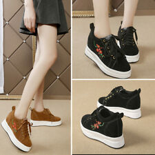 Womens Platform Casual Lace Up Sneakers Shoes Embroidery High Hidden Wedge