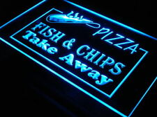 """16""""x12"""" i138-b OPEN Pizza Fish Chips Displays Neon Sign"""