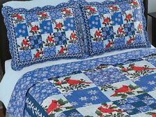 Snowflake Bedding Cardinal Patchwork Quilt Sham Set King Queen Full Twin Holiday