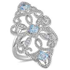 Miadora Sterling Silver Blue Topaz and Diamond Accent Vintage Long Finger Ring