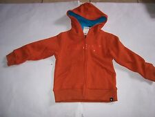 New Hurley boys zipper zip front ORANGE sweatshirt hoodie jacket  24 mo 2T  3T