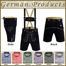 German Bavarian Oktoberfest Lederhosen Set Trachten Men Short Outfit Package Gp2
