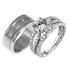 His Hers Titanium Sterling Silver Cubic Zirconia Wedding Bridal Ring Set AC