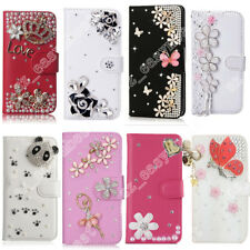 3D Bling Leather Crystal Diamond Rhinestone Cover Flip Wallet Cover Case For LG