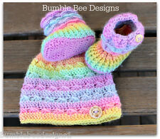 Baby Beanie - Baby Hat - Baby Booties – Wool Baby Shoes - Rainbow Baby Booties