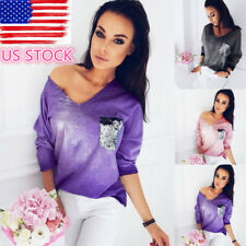 Women Sequin Pocket Long Sleeve Crop Top V Neck Loose Blouse Shirts Pullover Tee