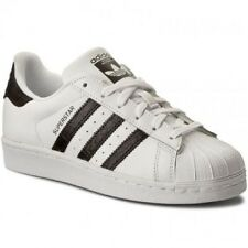 New adidas Superstar White Black Leather Trainers Junior Boys Girls Shoes