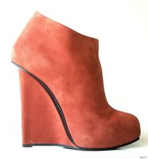 new $875 Giuseppe ZANOTTI brown suede platform slim WEDGE ANKLE BOOTS - fabulous