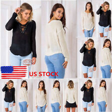 Lady Front Strappy Knitted Sweater Long Sleeve Hollow Pullover Tops Blouse Shirt