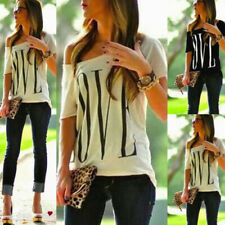 Womens One Shoulder LOVE Print Tops Short Sleeve Loose Blouse T-shirt Plus Size