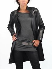Womens Leather Trench Coat 100 % Real Lambskin Designer Longcoat  S M L # 242
