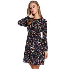 Women Casual Long Sleeve Print O Neck Pullover Tunic Dress BSTY