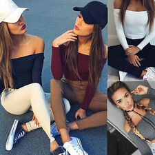 US Women Off Shoulder Long Sleeve Crop Tops Slim Fitted Sweater Blouse Shirt Tee