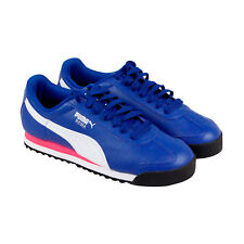 Puma Roma Basic Mens Blue Leather Lace Up Sneakers Shoes