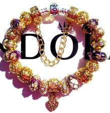 PANDORA Sterling Silver CHARM Bracelet PURPLE EMBRACE with Gold Plated Beads CC0