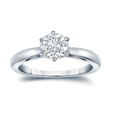 Auriya GIA Certified Platinum 6-Prong 1 ct. TDW Round-Cut Diamond Solitaire