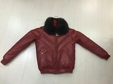 NWT VINTAGE DOUBLE F.A.T. GOOSE V-BOMBER JACKET FROM 80'S BURGUNDY FOX COLLAR