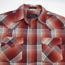 PENDLETON FRONTIER WESTERN COWBOY SNAP UP RODEO SHIRT Mens S Red Rust Plaid