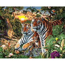 New Fashion DIY Two Tiger Oil Painting Canvas Paint By Number Kit Without Frame