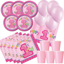 Fun At One Girl Party Pack - tablecover, cups, plates, napkins and balloons